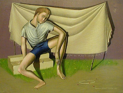 Leonard Everett Fisher, Boy and Marbles 1950, egg tempera on gessoed masonite