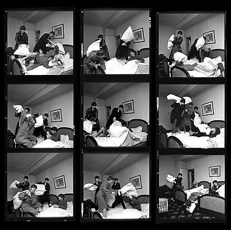 Harry Benson ,   Beatles Pillow Fight Times Nine, Edition of 40  ,  1964     photograph ,  44 x 44 in. (111.8 x 111.8 cm)     HB1200515