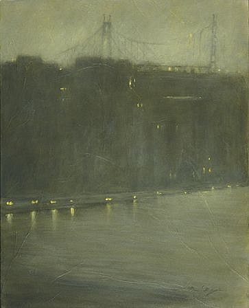 Nina Maguire ,   East River at 70th Street, NYC  ,  2009     acrylic on canvas mounted with Seikishu rice paper ,  30 x 24 in. (76.2 x 61 cm)     NM030409
