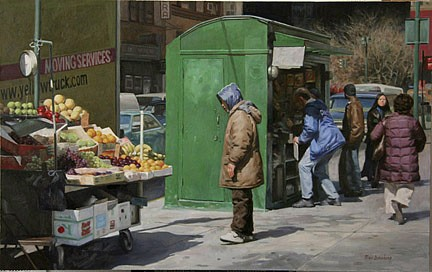 Max Ginsburg ,   Fruit Vendor  ,  2006     oil on canvas ,  25 x 36 in. (63.5 x 91.4 cm)     MG050606
