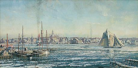 Maarten Platje ,   Gloucester Harbor (circa 1905)      oil on canvas ,  19 5/8 x 39 3/8 in. (50 x 100 cm)     MP030508
