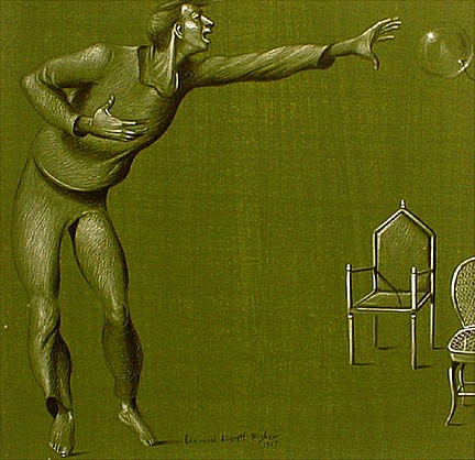 Leonard Everett Fisher, Man Chasing a Balloon 1953, gelatine tempera on self-toned paper