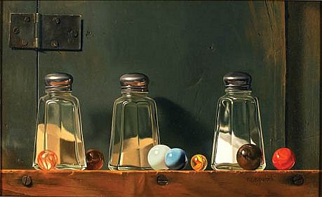 Robert E. Zappalorti ,   Salt and Pepper and Thalo  ,  2007     oil on panel ,  7 3/4 x 11 3/4 in. (19.7 x 29.9 cm)     RZ010907