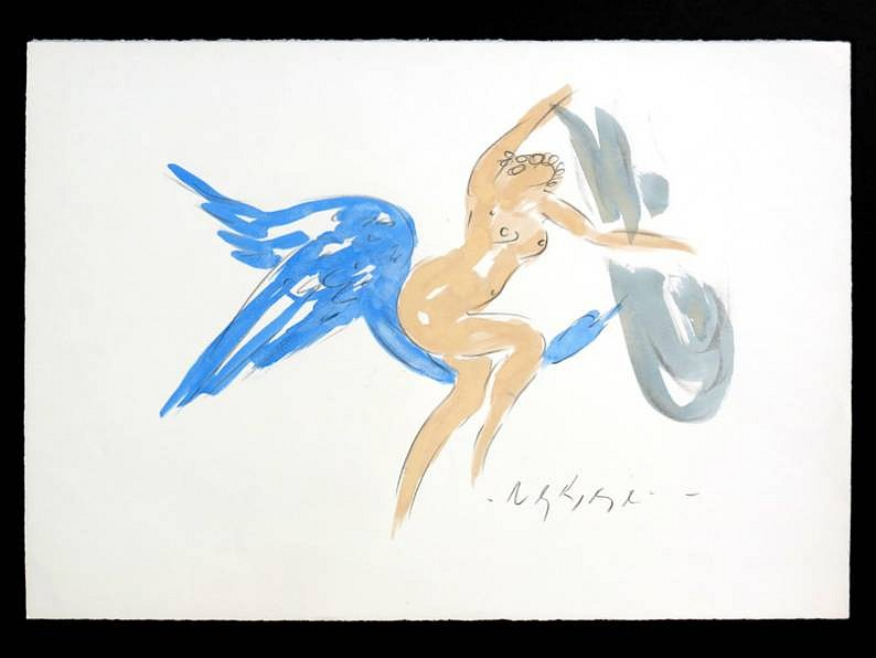 Reuben Nakian ,   Leda and the Swan  ,  1982 - 85     black litho crayon and colored wash ,  21 x 29 3/4 in. (53.3 x 75.6 cm)     RN120703
