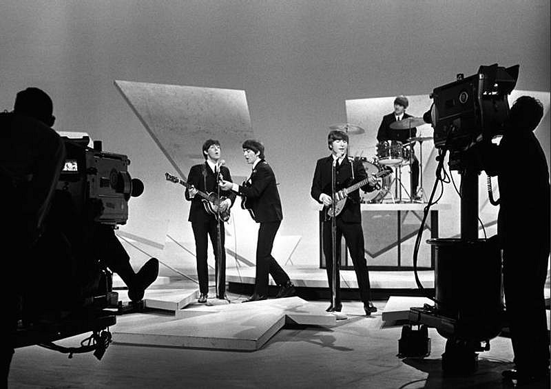 Harry Benson ,   Beatles Ed Sullivan Show with cameras, Edition of 35  ,  1964     archival pigment print ,  17 x 22 in. (61 x 76.2 cm)     HB140701