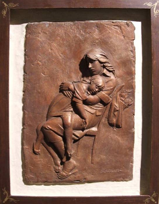 Bruno Lucchesi ,   After Shopping (Bas Relief), Ed. 4/6  ,  1980     terracotta ,  17 1/4 x 13 1/4 in. (43.8 x 33.7 cm)     BL050507