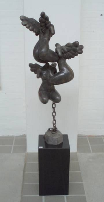 Bjorn Skaarup ,   Angels      bronze and black granite ,  40 x 15 x 15 in. (101.6 x 38.1 x 38.1 cm)     BS120601