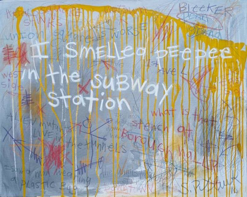 Stephen Pitliuk ,   I Smelled Peepee in the Subway  ,  2010     mixed media and resin on canvas ,  24 x 30 in. (61 x 76.2 cm)     SP100905
