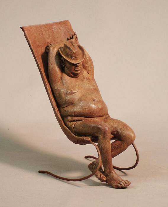 Bruno Lucchesi ,   Male Sunbather  ,  1986     terracotta ,  8 1/2 x 4 1/2 x 8 in. (21.6 x 11.4 x 20.3 cm)     BL110102