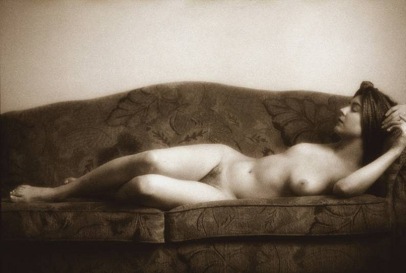 Robert Farber, Valorie on the Couch, Edition of 8 1996, black and white fiber pigment print