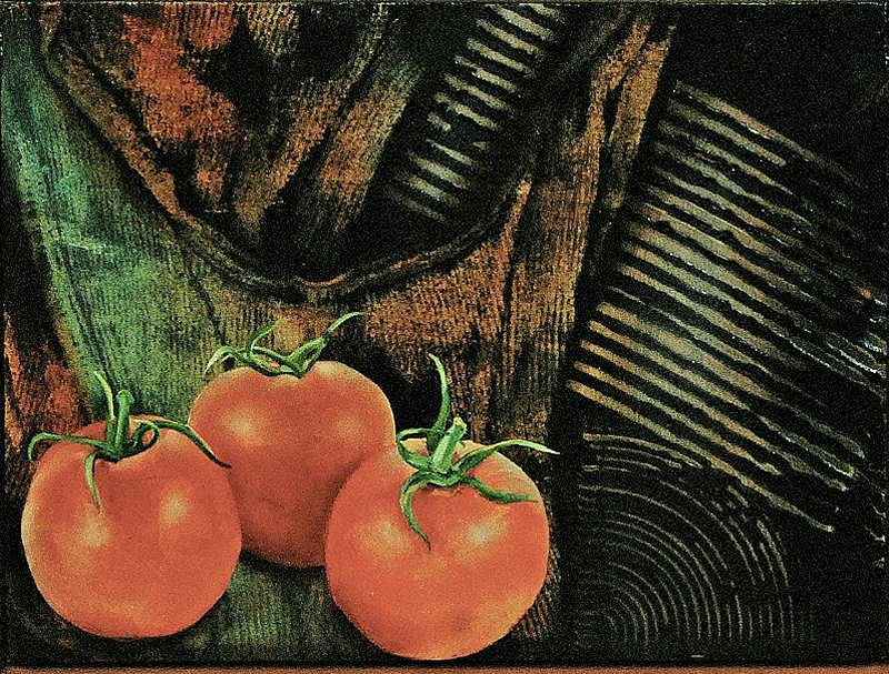 Steve Hawley ,   Trembling Tomatoes  ,  2010     oil, wax, alkyd on panel ,  7 3/4 x 10 1/2 in. (19.7 x 26.7 cm)     SH110601