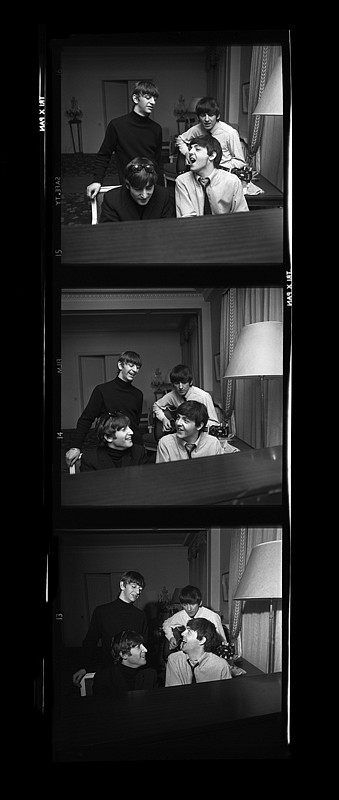 Harry Benson ,   Beatles Composing Times Three, Paris, Edition of 35  ,  1964     archival pigment print ,  60 x 24 in. (152.4 x 61 cm)     HB140202