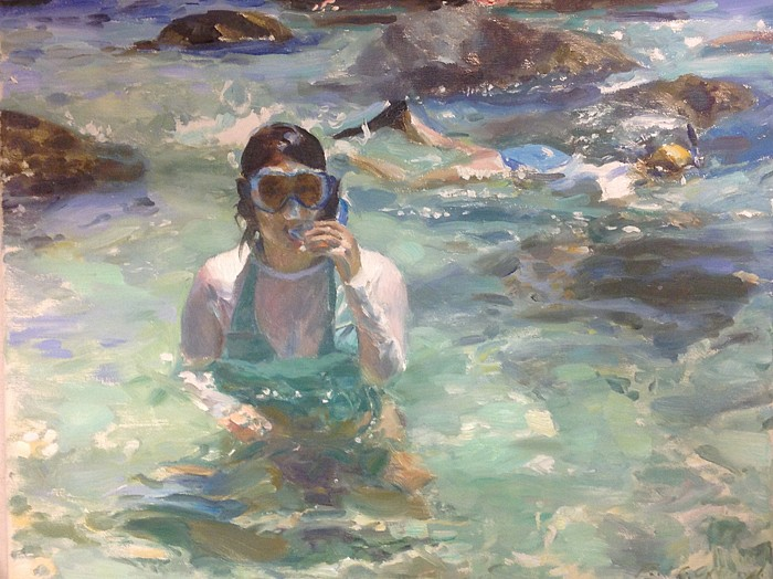 Paul Oxborough ,   Snorkeling  ,  2014     oil on linen ,  14 x 18 in. (35.6 x 45.7 cm)     PO140401