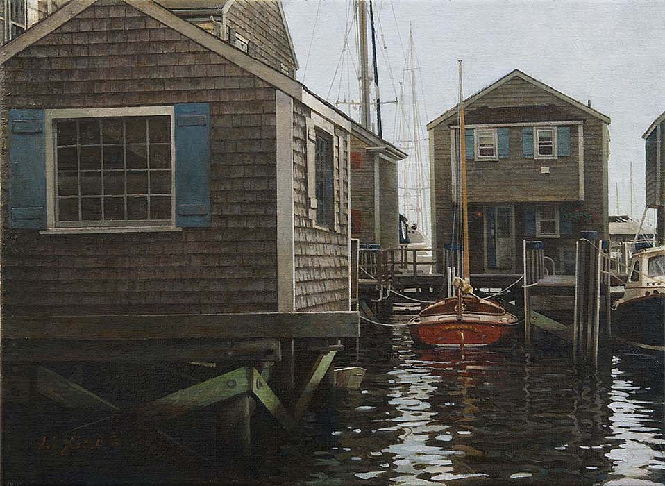 Li Xiao ,   South Wharf Cottage  ,  2013     oil on canvas ,  12 x 16 in. (30.5 x 40.6 cm)     Lx131203