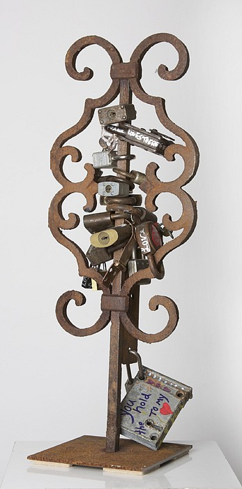 Debranne Cingari (ASSEMBLAGES) ,   You hold the key to my heart  ,  2011     mixed media assemblage ,  20 1/2 x 6 x 6 in. (52.1 x 15.2 x 15.2 cm)     DC110407