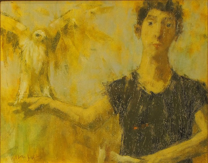 David Aronson, Man with Bird 1999, oil pastel