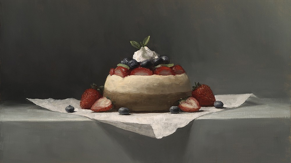 Sarah Lamb ,   Petite Cheesecake  ,  2015     oil on linen ,  10 x 18 in. (25.4 x 45.7 cm)     SL151201