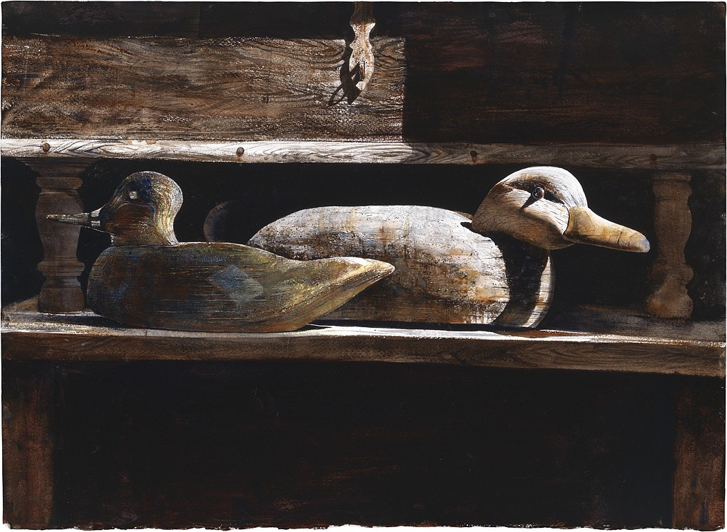 Stephen Scott Young ,   Decoys  ,  2007/10     Drybrush watercolor on Twinrocker handmade paper ,  16 x 22 in. (40.6 x 55.9 cm)     SSY151201A