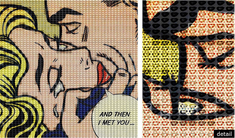 Alex Guofeng Cao, A Thousand Kisses Deep, Lichtenstein vs. Warhol 2014, ink and oil on canvas and mirror in artist's frame