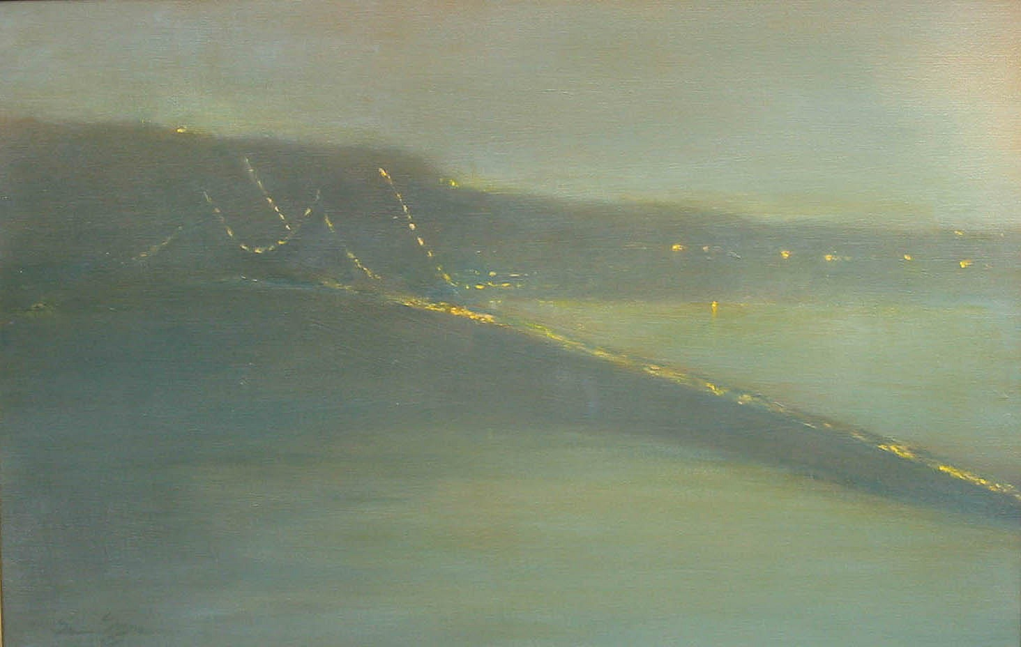 Nina Maguire ,   Bridge Nocturne V (Tappan Zee)  ,  2006     acrylic on canvas ,  20 x 30 in. (50.8 x 76.2 cm)     NM021006