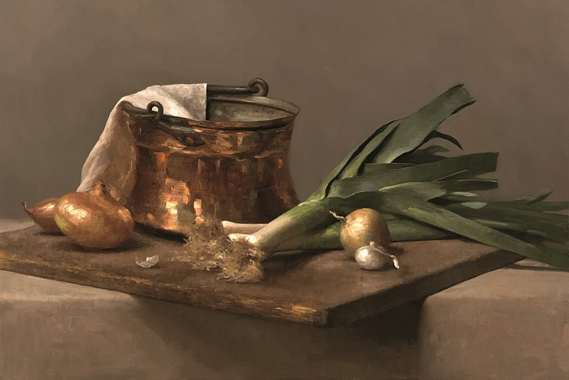 Sarah Lamb, Copper, Leeks and Onions 2012, oil on linen
