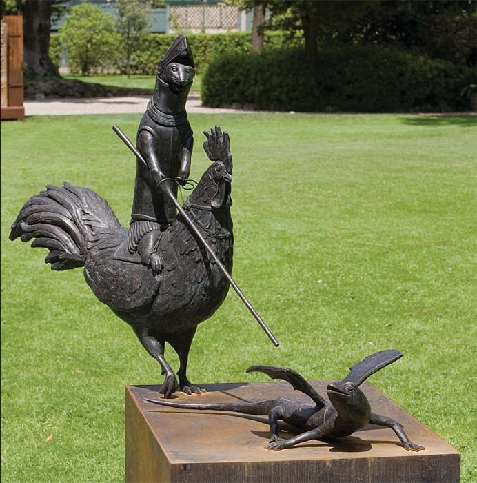 Bjorn Skaarup, The Ermine, the Rooster, and the Lizard, Ed. 2/6 bronze and black granite