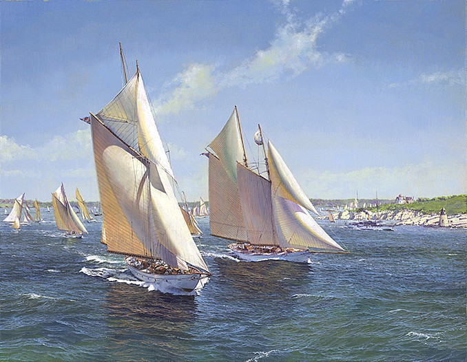 Maarten Platje ,   The Fleet of the NYYC leaving Newport in 1896      oil on canvas ,  27 1/2 x 35 3/8 in. (70 x 90 cm)     MP131201
