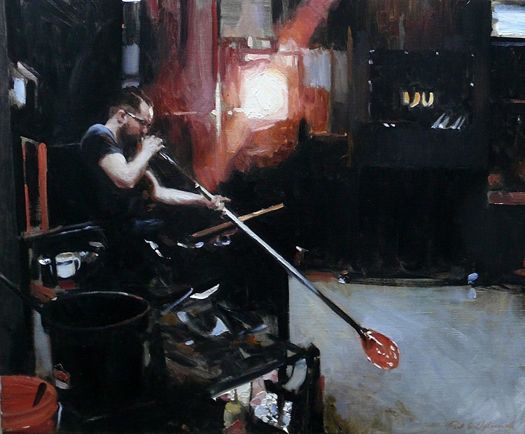 Paul Oxborough ,   Glass Blower  ,  2015     oil on linen ,  20 x 24 in. (50.8 x 61 cm)     PO150603