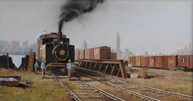 Nicholas Berger ,   Men Working  ,  2011     oil on panel ,  22 x 43 1/2 in. (55.9 x 110.5 cm)     NB121101