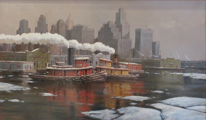 Nicholas Berger ,   Harbor Ice  ,  2013     oil on board ,  31 x 52 in. (78.7 x 132.1 cm)     NB130102