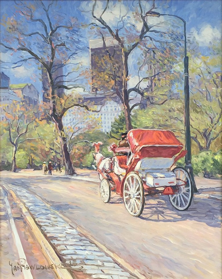 Jan Pawlowski, Red Carriage in Manhattan 2016, oil on canvas