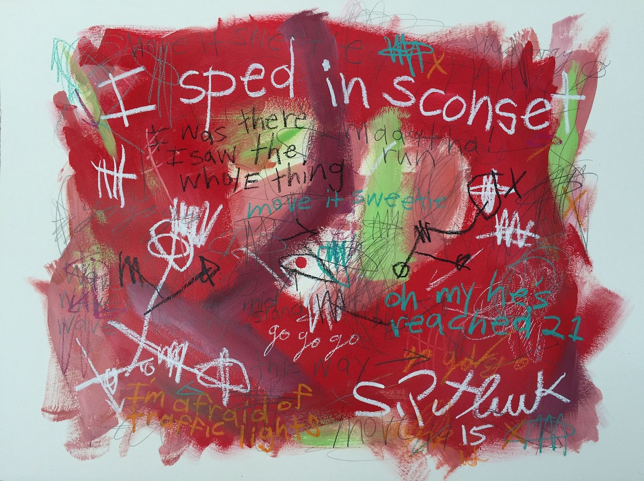 Stephen Pitliuk ,   I Sped in Sconset  ,  2015     mixed media on paper ,  22 x 30 in. (55.9 x 76.2 cm)     SP151203