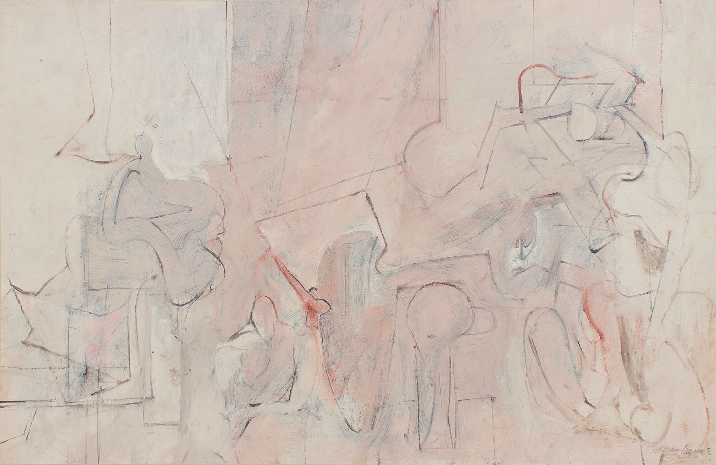 Nicholas Carone ,   Untitled (W-1357-S)  ,  1965     oil and pencil on board ,  26 x 40 in. (66 x 101.6 cm)     NC161003