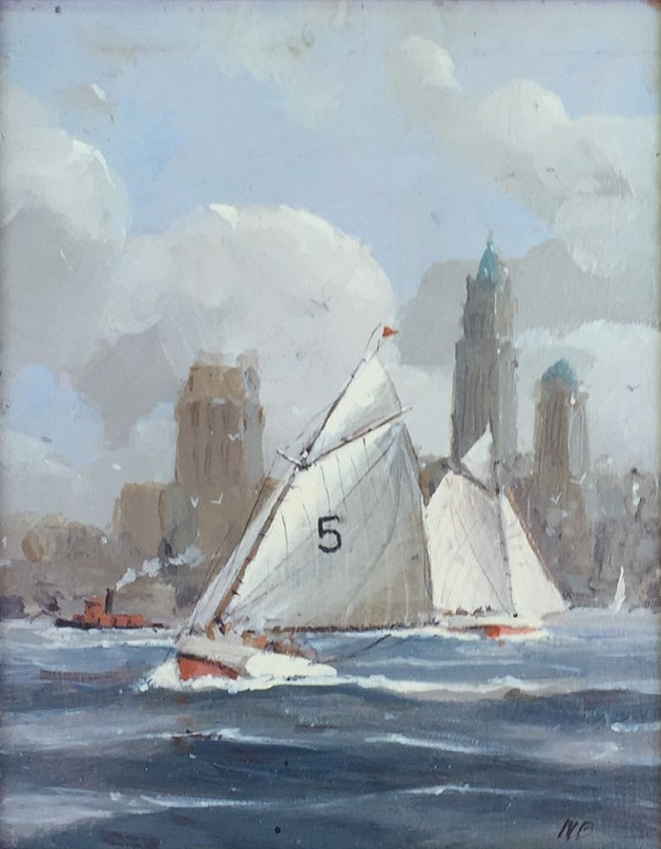 Nicholas Berger, City Sailing, Woothworth Tower, study 2016, oil on panel