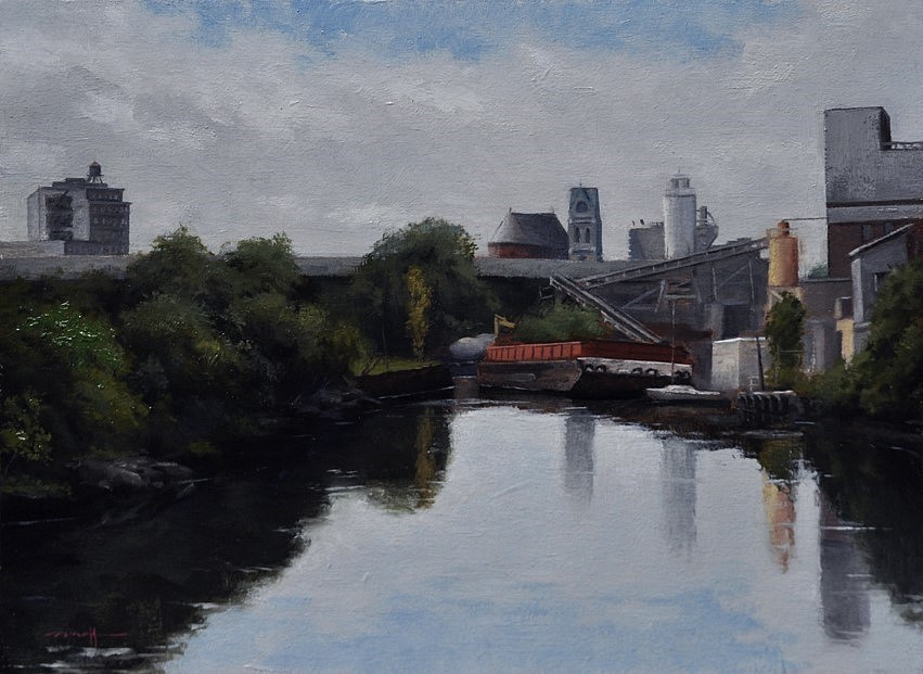 Edward Minoff, View of Brooklyn 2015, oil on linen on panel