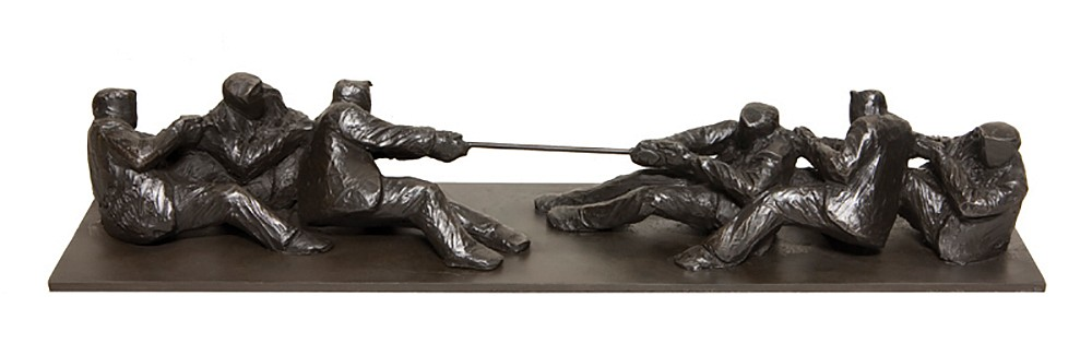 Jim Rennert ,   Business as Usual, study, Edition of 9  ,  2011     bronze and steel ,  3 x 15 x 3 1/2 in. (7.6 x 38.1 x 8.9 cm)     JR120301