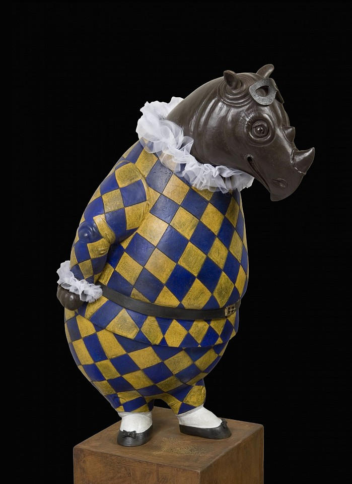 Bjorn Skaarup ,   Rhino Harlequin, bowing, Edition of 6  ,  2015     bronze ,  44 1/4 x 20 x 26 in. (112.4 x 50.8 x 66 cm)     BS170201
