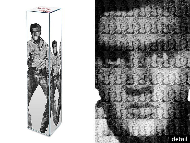 Alex Guofeng Cao ,   LOVE YOU TENDER, KILL ME SOFTLY, ELVIS vs WARHOL, Ed. 6  ,  2013     Mirror-Surfaced Stainless Steel Sculpture ,  60 x 12 x 12 in. (152.4 x 30.5 x 30.5 cm)