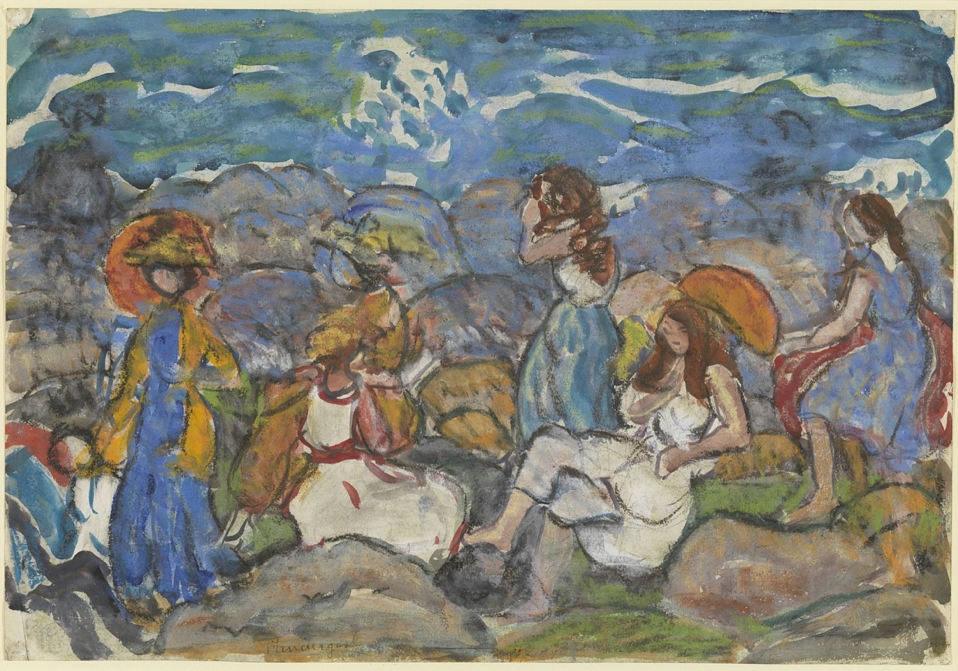 Maurice Prendergast ,   On The Rocks, North Shore, Massachusetts  ,  c. 1916-19     watercolor, pastel and pencil on paper ,  13 3/4 x 19 3/4 in. (34.9 x 50.2 cm)