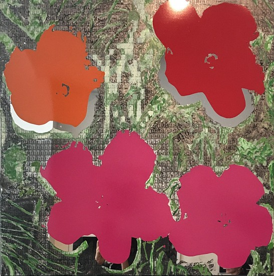 Alex Guofeng Cao, WARHOL FLOWERS 2014, Enamel with Mirror-Surfaced Stainless Steel