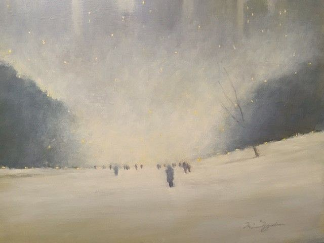 Nina Maguire ,   Central Park II, Blizzard of 2017  ,  2017     acrylic on canvas ,  20 x 30 in. (50.8 x 76.2 cm)     NM170801
