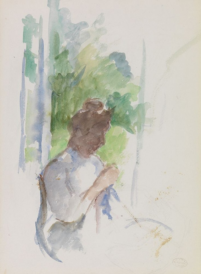 Mary Cassatt ,   Profile of Seated Woman Sewing  ,  1906     watercolor on paper ,  15 1/8 x 11 1/8 in. (38.4 x 28.3 cm)     AG7138