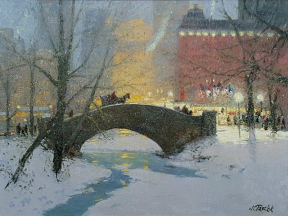 John Terelak ,   Snowy Evening, Central Park  ,  2016     oil on canvas ,  30 x 40 in. (76.2 x 101.6 cm)     JT160301