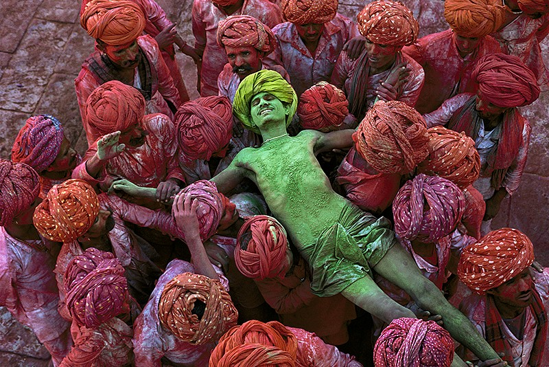 Steve McCurry ,   Holi Man, Rajasthan, India  ,  1996     FujiFlex Crystal Archive Print ,  30 x 40 in. (Inquire for additional sizes)     INDIA-10005NF4