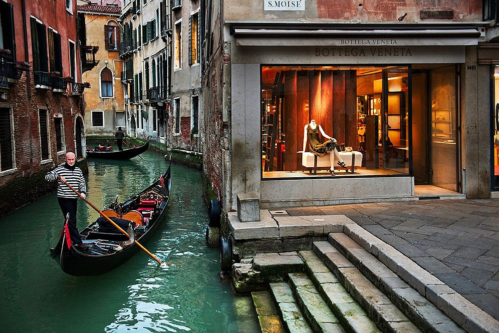 Steve McCurry, Man Rows Gondola on Canal. Venice, Italy 2011, FujiFlex Crystal Archive Print