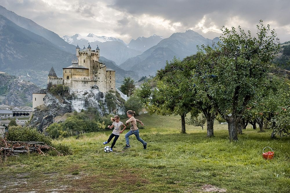 Steve McCurry, Two Girls Play, Saint Pierre, Aosta Valley, Italy 2016, FujiFlex Crystal Archive Print