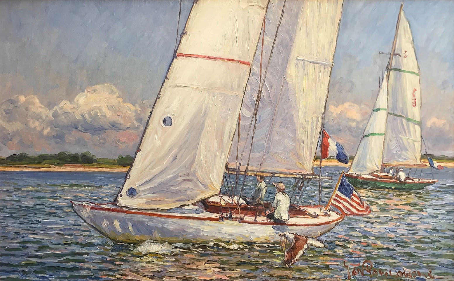Jan Pawlowski ,   Happy Sailing (Nantucket)  ,  2017     oil on canvas ,  20 x 32 in. (50.8 x 81.3 cm)     JP1020001