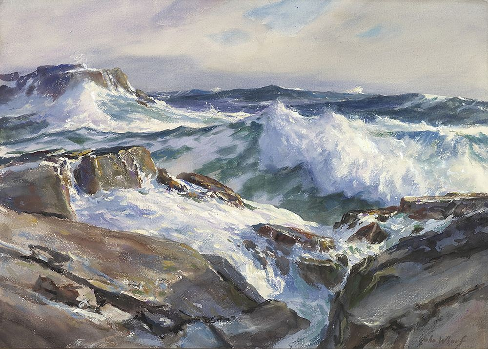 John Whorf, Rolling from the East, Maine Coast 1950, watercolor on paper