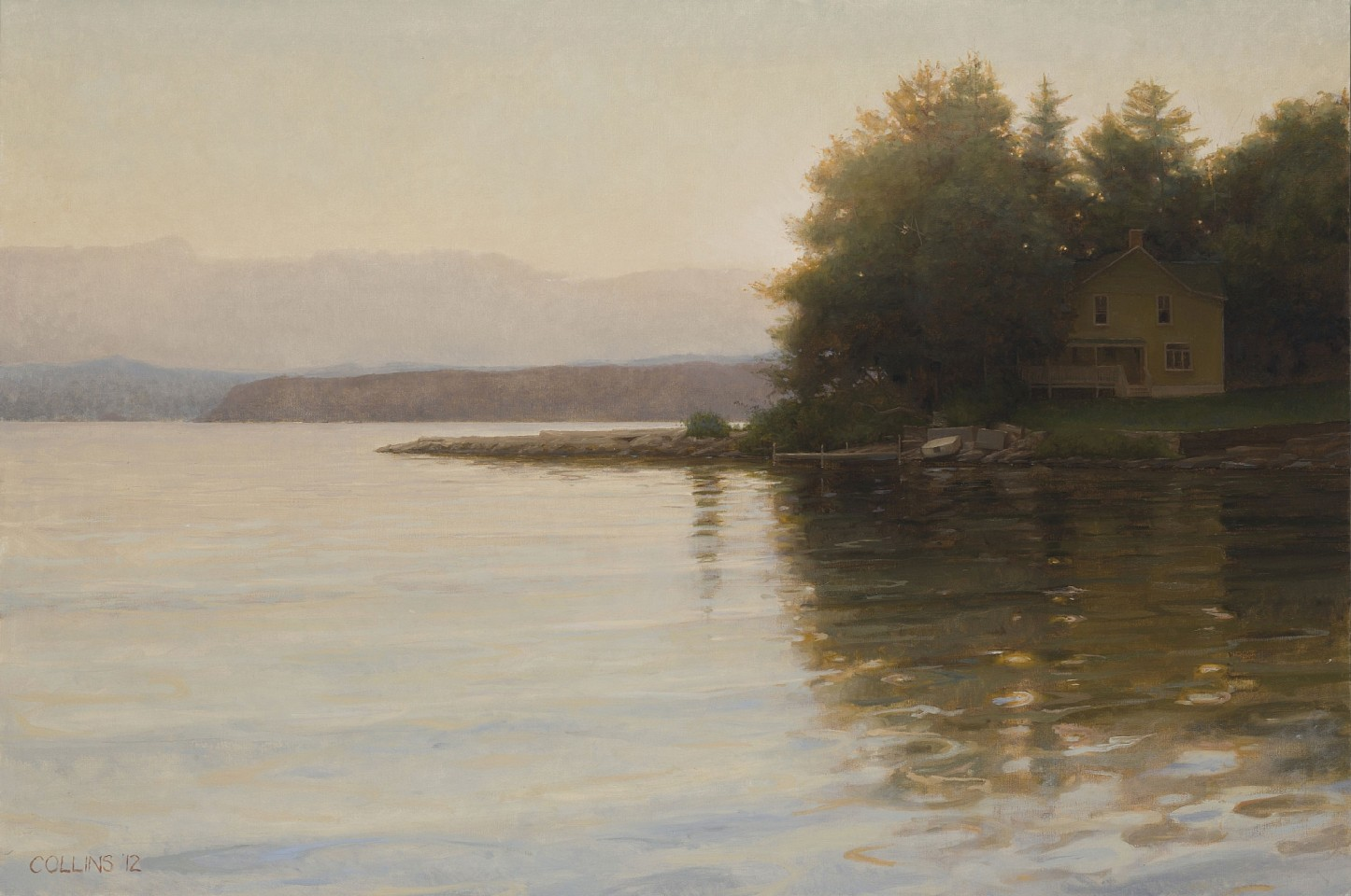 Jacob Collins ,   Yellow House on Thompson's Point at Twilight  ,  2012     oil on canvas ,  28 x 42 in. (71.1 x 106.7 cm)     AG7774