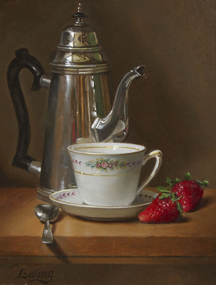 William O. Ewing, Limoges, Teacup & Strawberries oil on wood